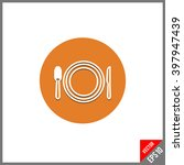 flat icon of plate fork and...