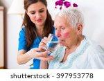 caring nurse helping sick... | Shutterstock . vector #397953778