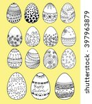 easter eggs set. hand painted... | Shutterstock .eps vector #397963879