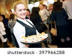 catering service. waitress on... | Shutterstock . vector #397966288