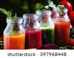 vegetable smoothie in small... | Shutterstock . vector #397968448