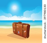 luggage with traveling stickers ... | Shutterstock .eps vector #397980130