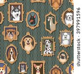 cute vintage portraits of dogs. ... | Shutterstock .eps vector #397991596