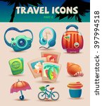 color travel set icons sketch... | Shutterstock .eps vector #397994518