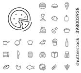 linear cooking icons set....