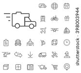linear delivery icons set....