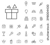 linear birthday icons set....