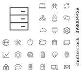 linear big data icons set....