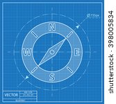 compass vector blueprint icon  | Shutterstock .eps vector #398005834