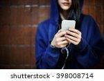 woman listening music media...   Shutterstock . vector #398008714
