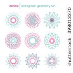 vector linear spirograph... | Shutterstock .eps vector #398013370