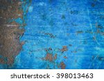 metal blue grunge old rusty... | Shutterstock . vector #398013463