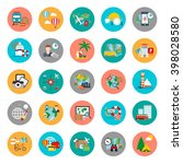 flat conceptual icons set of... | Shutterstock .eps vector #398028580
