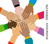 diversity hands together... | Shutterstock .eps vector #398034196