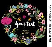 vector floral wreath.   Shutterstock .eps vector #398038786