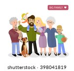 big happy family. parents with... | Shutterstock .eps vector #398041819