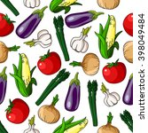 colorful pattern of eggplants... | Shutterstock .eps vector #398049484