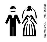 wedding. bride and groom icon....   Shutterstock .eps vector #398055100