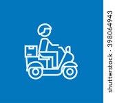 man carrying goods on bike line ... | Shutterstock .eps vector #398064943