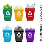 recycle garbage bins.... | Shutterstock .eps vector #398067259