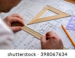 man architect draws a plan ... | Shutterstock . vector #398067634