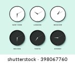 set of day and night clock for... | Shutterstock . vector #398067760