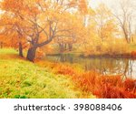 autumn colored landscape in... | Shutterstock . vector #398088406