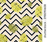 tropical monstera leaves... | Shutterstock .eps vector #398090608
