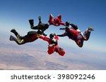 skydiving star teamwork | Shutterstock . vector #398092246