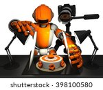3d photographer robot  orange... | Shutterstock . vector #398100580