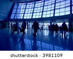 people silhouettes at airport...   Shutterstock . vector #3981109