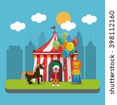 circus lion and horse design  | Shutterstock .eps vector #398112160