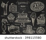 ice cream  chocolate cake ...   Shutterstock .eps vector #398115580