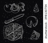 italian pizza  knife  cheese... | Shutterstock .eps vector #398130754