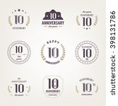 ten years anniversary...   Shutterstock .eps vector #398131786