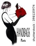 fashion woman model in black... | Shutterstock .eps vector #398135974