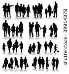 collection of family silhouettes | Shutterstock .eps vector #39814378