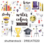 premium quality watercolor... | Shutterstock .eps vector #398147020