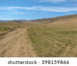 hill covered of yellow grass... | Shutterstock . vector #398159866