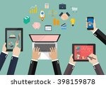 hands hold device electronics... | Shutterstock .eps vector #398159878