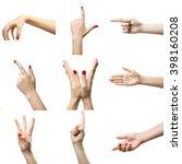 set of female hands gestures ... | Shutterstock . vector #398160208