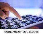 doctor hand touching modern... | Shutterstock . vector #398160346
