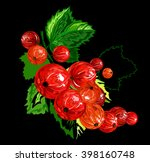 red currants on a dark... | Shutterstock .eps vector #398160748