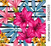 tropical floral seamless... | Shutterstock .eps vector #398162353