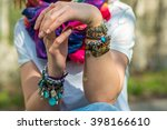 fashion shot of a beautiful... | Shutterstock . vector #398166610