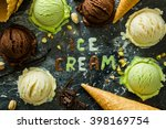 Stock photo selection of colorful ice cream scoops in white bowls copy space 398169754