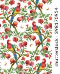 colorful  parrot on pomegranate ... | Shutterstock . vector #398170954