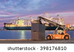 forklift handling container box ... | Shutterstock . vector #398176810