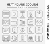 heating and cooling line icons... | Shutterstock .eps vector #398180533