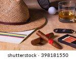 siesta   cigar  straw hat...   Shutterstock . vector #398181550